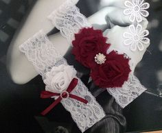 Wine and white vintage wedding garter sets, dark red and white bridal garters By ShopForFashion