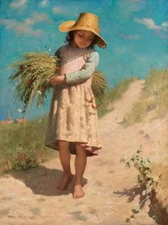 """Paul Peel (1860-1892)  """"The Young Gleaner"""" (1888)  Academicism"""