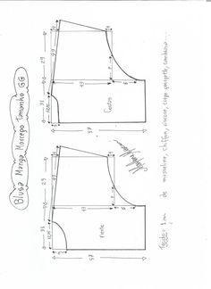 Esquema de modelagem de blusa manga morcego tamanho GG.