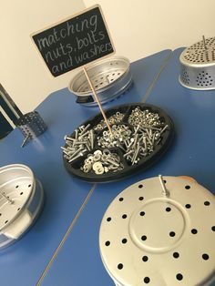 parts play at the tinkering tables. My Early Years Learning Areas, Danielle Heron.Loose parts play at the tinkering tables. My Early Years Learning Areas, Danielle Heron. Play Based Learning, Learning Through Play, Early Learning, Eyfs Areas Of Learning, Learning Environments, Motor Skills Activities, Fine Motor Skills, Preschool Activities, Preschool Classroom