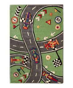 Another great find on #zulily! Green Racer Wool Rug by kinderLOOM #zulilyfinds