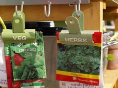 labeled seed clips (potting shed) - Handy to keep seeds that need sowing in intervals to avoid gluts to hand for ease and as a reminder.