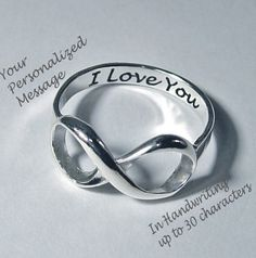 Infinity ring, Best Friend Ring, Sisters Ring, couples ring, custom message  sterling silver engraved I LOVE YOU, Sale via Etsy