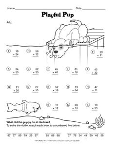 Math Worksheet: 2-digit addition
