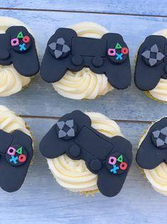 Girl Birthday Cupcakes, Cupcakes For Boys, Themed Cupcakes, Boy Birthday Parties, Edible Cupcake Toppers, Cupcake Icing, Fondant Icing, Cupcake Cakes, Playstation Cake