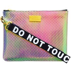 Do Not Touch My Clutch ! Waffle imprinted holographic clutch in iridescent pink, purple and flashes of mint green. Material is not unlike a mermaid's tail, it changes colour in different angles and Pink Handbags, Handbags On Sale, Luxury Handbags, Purses And Handbags, Holographic Purse, Holographic Universe, Pink Clutch, Small Bags, My Bags