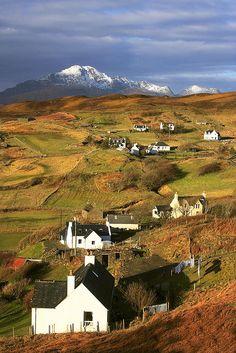 Isle of Skye, Tarskavaig Crofting Village and the Blaven, Scotland