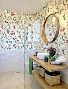 Home Room Design, Bathroom Interior Design, Home Interior, Bathroom Wallpaper, Bathroom Wall Decor, Diy Bedroom Decor, Handmade Home Decor, Bathroom Inspiration, Home Remodeling