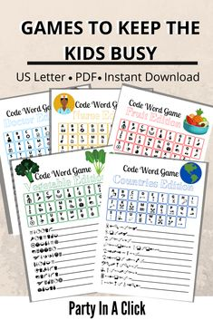 With schools being closed because of the coronavirus, if your kids are now at home looking for something to do. Keep them busy with this pack of word scramble games! Home Games For Kids, Printing Services, Online Printing, Bachelorette Drinking Games, Library Girl, Printable Games For Kids, Scramble Game, Game Codes, Friends Tv Show