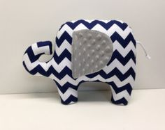 Modern chevron elephant pillow, gray grey and navy blue, stuffed animal elephant, navy blue baby nursery decor.