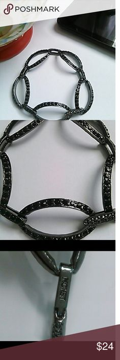 """Black Monet Bracelet with Black Inlaid Stones NWOT An evening out in this Black link style Monet bracelet with black inlaid stones offers both comfort and style.  Measures approximately 7"""" long. NWOT  Ask B4 you buy! Offers welcome using the offer button below only.  Questions?? Just Ask. My pleasure to answer! Thanks for looking. Monet Jewelry Bracelets"""