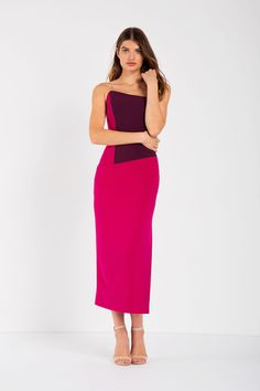 The stunning Hartland Dress features a bold fuchsia and plum colour-block design, asymmetrical neckline and... Colour Block, Color Blocking, Plum Colour, Block Design, Hemline, Two Piece Skirt Set, Skirts, Model, How To Wear