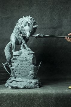 ArtStation - The Great Grey Wolf - Sif (Dark Souls) Printed Statue, Tushank K. Polymer Clay Sculptures, Sculpture Clay, Wolf Sculpture, Fantasy Kunst, Fantasy Art, Sif Dark Souls, Werewolf Art, Figurative Kunst, 3d Figures