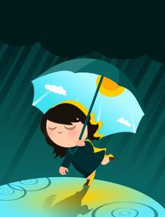 Sunny umbrella girl illustration from Pesto design, 2010