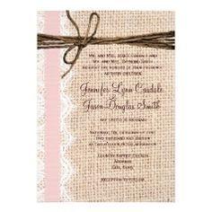 Rustic Burlap Lace Twine Pink Ribbon Wedding Invitations  #SOLD on #Zazzle