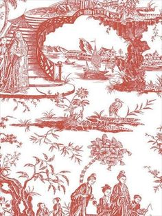 Oriental Scenic Toile in Red and Off White Wallpaper 90 Sq Foot Bolt 11141410 #BlueMountain #AsianOriental