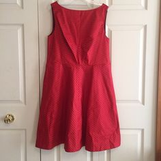 WEEKEND SALE Striped Red Taffeta Party Dress Bought this to see a play on Broadway, it no longer fits me, only worn once! It's the perfect red dress. Isaac Mizrahi for Target Dresses Midi