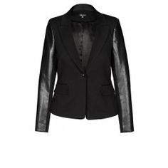 Our Pleather Chic Blazer will add a layer of chic to all your outfits this season. Boasting pleather sleeves with ponte splicing, this blazer features a notch collar, shoulder pads, single button fastening at centre front, faux pockets with flap, pleated vent on reverse and is lined.