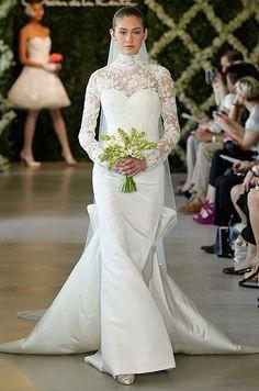 Oscar de la Renta wedding dress with sleeves, Spring 2013