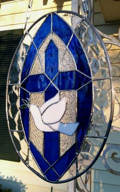 Spiritual Cross Stained Glass Window Large by SuzanneEmerson