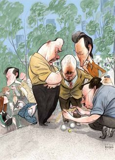 Steve Brodner for The New Yorker August 2010 Petanque