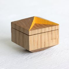 faceted ring box made from reclaimed wood