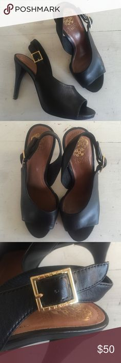 """/Vince Camuto/ slingback peep-toe heels Vince Camuto """"Felippa"""" slingback peep-toe heels. Adjustable slingback strap, supple black leather. Leather lining and insole , durable sole and heel. Excellent like-new condition! Small platform, 1/2"""". 4"""" heel height. Vince Camuto Shoes Heels"""