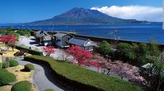 Heavens on Earth of Japan - Hello world. Senganen Park is located along the northern coast of Kagoshima city center. It is like a miniature of Japanese with streams, ponds, temples and even a bamboo forest. From here, visitors can view the volcano Sakurajima and Kagoshima Bay.