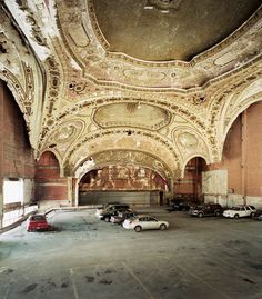 Beautiful Detroit Theater turned parking lot. Only the ceiling remains as a reminder of the Michigan Theater. Built by Rapp & Rapp in 1926.