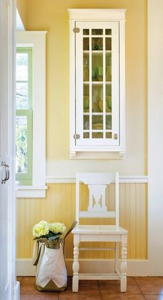 Beadboard Wainscoting, Yellow Cottage, Yellow Painting, Dark Shades, Entryway Tables, Bedroom, Wedding Dresses, Furniture, Beautiful
