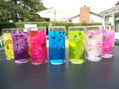 Vases and Faux flowers purchased from dollar store…added neon food coloring. 70s Party, Neon Party, Disco Party, Neon Food Coloring, Dance Party Birthday, Party Themes, Party Ideas, Troll Party, Sweet Sixteen Parties