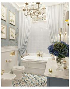White Shower, White Bathroom, Bathroom Small, Shower Bathroom, Small Bathroom Chandelier, Small Tub, Neutral Bathroom, Chic Bathrooms, Amazing Bathrooms
