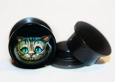 Select 1 pair Cheshire Alice in wonderland ear gauges tunnel screw back plug Body Piercing, Piercings, Ear Tunnels, Gauges Plugs, Stainless Steel Screws, Tribal Fashion, Alice In Wonderland, Gemstone Rings, Pairs