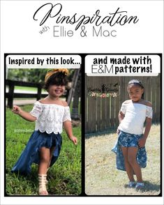Pinspiration come to life! We adore this cute outfit dupe, s Yoga Fashion, Skirt Fashion, Diy Fashion, Trendy Fashion, Ellie And Mac, Hi Low Skirts, Pdf Sewing Patterns, Skort, Big Kids