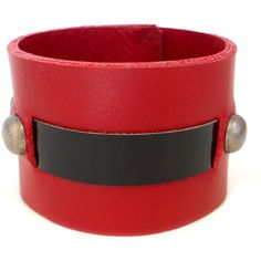 Red Hot Leather Cuff Bracelet, Women's Leather Jewelry ($40) ❤ liked on Polyvore