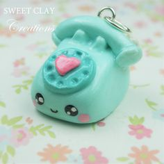 DIY your photo charms, 100% compatible with Pandora bracelets. Make your gifts special. Make your life special! Old Telephone Kawaii Charm Teal Pink Polymer by Sclaycreations