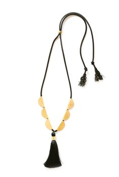 3.5 inch black tassel with black Japanese cording and 15.in hand-hammered brass scallops.Multiple ...