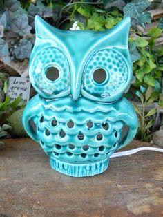 Woodland Owl TV Lamp Vintage Style  Night Light - turquoise  Nursery lamp. $45.00, via Etsy.