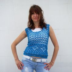 Turquoise Crochet Top Hippie by ShopDreamsofCrochet on Etsy