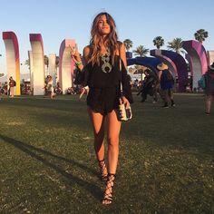 Rocky Barnes. Coachella Festival Style. Black romper, strappy heels, statement necklace <3