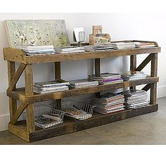 rustic shelving for side wall in sun room, PERFECT!!! can put baskets with pool stuff, towels, toys, koosies, etc!