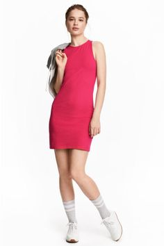 Sleeveless jersey dress - Cerise - Ladies | H&M