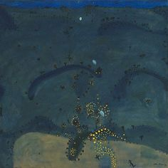 An image of Nightfall, when wattle stains the doubting heart by John Olsen #goldenwattle