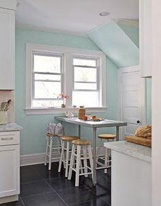 aqua and gray kitchen
