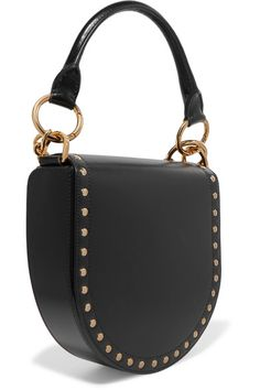 7fe1a3e8b4ab6 Sacai - Horseshoe suede-trimmed studded leather shoulder bag