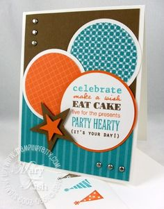a birthday festival of shapes, nice color combo and look for more masculine card