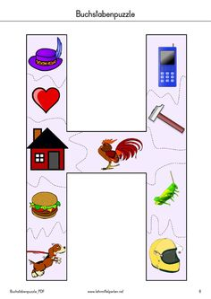 Buchstaben-Puzzle | PDF to Flipbook Name Crafts, Letter A Crafts, Schedule Board, Kids Collage, Das Abc, Primary School, Kindergarten, Coloring Pages, Activities For Kids