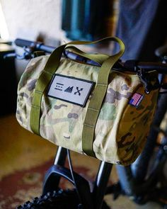 scout duffles are perfect for day trips and camp adventures. We've just received a fresh supply of them just in time for some excellent Fall camping! Bike Bag, Commuter Bike, Van Camping, Luxury Camping, Be Perfect, Day Trips, Bicycle, Vans, Adventure