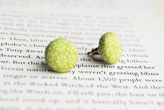 New to Onetenzeroseven on Etsy: Green Floral Button Earrings Nickel Free (4.75 GBP)