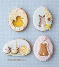 Easter Egg Cookies - Kolačići u obliku pisanica s zeko ili patka siluetu.